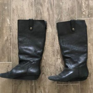 Black leather tall boots by Steve Madden size 8